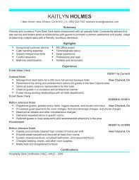 Front Desk Clerk Resume Sample