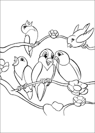 Birds School Of Bird Singing Together Coloring Page