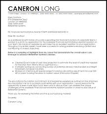 Financial Administrative Assistant Cover Letter Sample