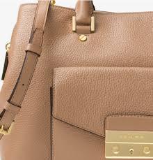 kors handbag haley large leather satchel color beige mk5002