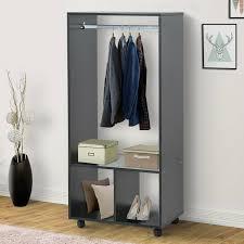 homcom mobiler kleiderschrank garderobe schrank regal für schlafzimmer schwarz