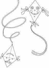 Kite Flying Up And Down Coloring Page