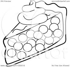 Royalty Free Vector Clip Art Illustration of an Outline A Slice Cherry Pie Topped With A Dollop Whipped Cream by Pams Clipart
