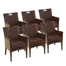 esszimmer stühle set 6 stück rattan armlehner sessel bilbao vollgepolstert polster prairie brown
