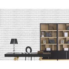 White 3D Brick Stone Waterproof Foam Wall Paper
