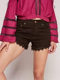 free people lacey denim cutoff shorts in black lyst