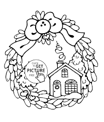 Winter Day Coloring Pages For Kids Printable Free Inside Christmas Wreath