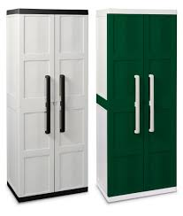 white and green plastic garage storage cabinet with door for small
