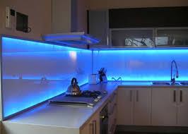 interior glass kitchen backsplash combined with blue led light