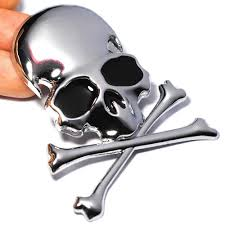 100 Wholesale Truck Accessories 2019 72x6CM 3D Metal Skull Skeleton Crossbones Car Motorcycle