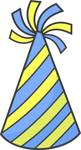 Birthday hat striped blue yellow images clipart