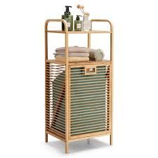 costway badregal korbregal badezimmer regal mit wäschekorb bambus mit 2 offenen regalfächern herausnehmbarer stoffeinsatz mit griff