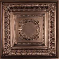 Staple Up Ceiling Tiles Home Depot by Ceilume Empire Faux Bronze 2 Ft X 2 Ft Lay In Or Glue Up Ceiling