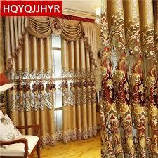 europäischen und amerikanischen stil royal gold luxus vorhänge für wohnzimmer fenster vorhang schlafzimmer fenster vorhang küche hotel