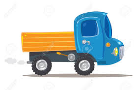 Funny Orange With Blue Toy Truck Children Illustration Royalty Free ...