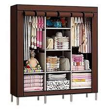 HCX Wardrobe Storage Organizer For Clothes Big Size 3 Part Brown