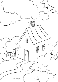 Click To See Printable Version Of Lovely House With Garden Coloring Page