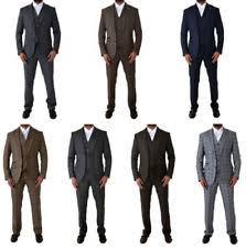 Cavani Mens Vintage 3 Piece Blazer Waistcoat Trousers Tweed Checkered Suit
