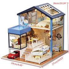 Dollhouse Miniature Wooden Assembled With Voice Activated Light