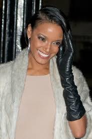 celebrities in gloves selita ebanks in black leather gloves