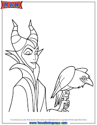 In This Beautiful Picture You Will Find The Witch Maleficent And His Pet Diablo Just Print It Enjoy Free Disney Coloring Page