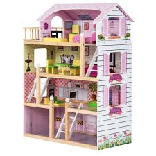 Amazoncom Costzon Dollhouse With Furniture 3 Levels Doll Cottage