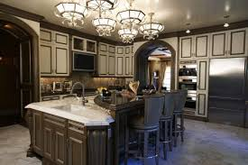 Attractive Traditional Kitchen Cabinets Design Brown Leather Bar Stool Chairs White Hanging Lights Over