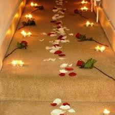 Romantic ideas with rose petals and candles Would def win me
