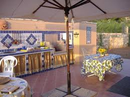 interesting outdoor kitchen ideas with blue white tile