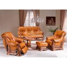 salon cuvette rustique cuir et chêne fauteuil relax table basse pouf