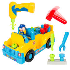 Details About BCP Bump'n'Go Toy Truck With Electric Drill And Various  Tools, Lights And Music