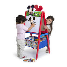 Toddler Easels U0026 Art Desks by Delta Children Mickey Mouse Wooden Double Sided Easel With Storage