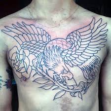 Cool Eagle With Rose Flower Guys Chest Tattoos
