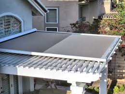 Louvered Patio Covers California by Retractable Shade Panel On Lattice Patio Cover By Superior Awning