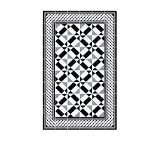 Tapis vinyle Bauhaus Noir Blanc 60 x 97 cm Beija Flor Wish