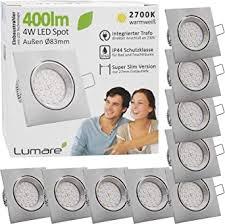 9x lumare led einbaustrahler 4w 400 lumen ip44 nur 27mm flach einbautiefe led leuchtmodul austauschbar deckenspot ac 230v 120 deckenle