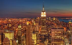city Cityscape New York City USA Empire State Building Night