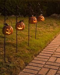 Metal Halloween Yard Stakes by Set Of 2 Outdoor Lit Jack O U0027 Lanterns Balsam Hill