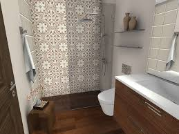 shower floor tile with your wood floor to make small bathroom look