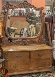 Birdseye Maple Highboy Dresser by Antique Tiger Oak Dresser With Beveled Mirror Oak Dresser