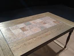 a custom table for the big stage tile table using pine legs