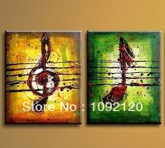 Free Shipping Hand Painted High Quality Wall Art Picture Home Decoration Abstract Music Note Oil