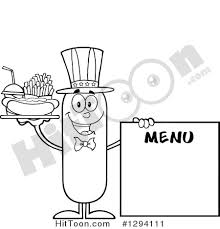 Cartoon Black and White Happy American Sausage Character with a Hot Dog Fries and Soda by a Menu Board