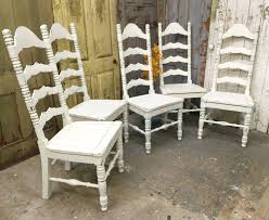 Ladder Back Dining Chair, White Wooden Chair, Shabby Chic ... Roseberry Shabby Chic French Country Cottage Antique Oak Wood And Distressed White 7piece Ding Set Four Stripy White Blue Shabbychic Ding Chairs Hand Painted Finished In Woking Surrey Gumtree Table Chairs Best Of Ripley Chair Pine Round Room Height Lights Ballad Decoration Tables Balloon Back Antique White French Chic Ornate Ding Table Set With Decor Cozy Slipcovers For Inspiring Interior My Home Room Ideas Chic Diy Shabby Chrustic Chair Basil Chaise
