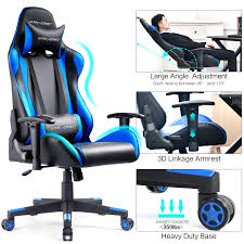 GTRACING Gaming Chair Ergonomic Office Racing Chair Seat Height Adjustable  Computer Chair With Pillows Swivel Recliner E- Sports Chair GT002 Blue Managerial Office Chair Conference Room Desk Task Computer Mesh Home Warmrest Ergonomic Lumbar Support Swivel Adjustable Tilt Mid Back Fully Meshed Ergo Black Essentials By Ess202 Big And Tall Leather Executive Star Products Progrid The Best Gaming Chairs In 2019 Gamesradar Cozy Heavy Duty Chairs Jherievans Mainstays Vinyl Multiple Colors Secretlab Neuechair Review An Attractive Comfortable Contemporary Midback Plush Velvet