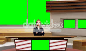 News 004 TV Studio Set Virtual Green Screen Background PSD