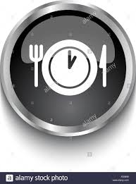 White Lunch Time Symbol On Black Glossy Web Button