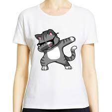 2017 Fashion Cartoon Dabbing Unicorn T Shirt Womens Ladies Panda Pug Cat