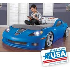 toddler twin bed kids bedroom furniture blue corvette race car