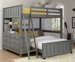 2045 Full Size Loft Bed with Full Size Lower Bed Stone